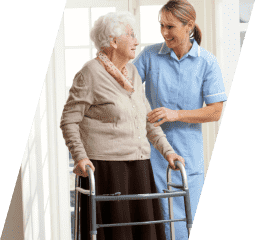 caregiver assisting her old patient